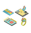 call taxi by gadget isometric compositions vector image vector image