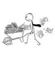 cartoon businessman or clerk pushing vector image
