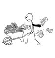 cartoon of businessman or clerk pushing vector image