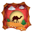 cartoon paper landscape camel vector image