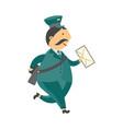 cartoon postman mailman character running vector image vector image