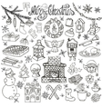 Christmas season doodle iconssymbolsLinear vector image vector image