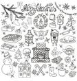 christmas season doodle iconssymbolslinear vector image vector image