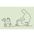 clean up after your pet one line drawing vector image vector image