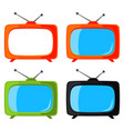 colorful cartoon vintage tv set isolated on white vector image vector image
