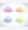colourful abstract cloud computer chip icon set vector image vector image