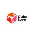 cube love heart logo icon vector image