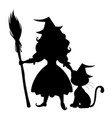 cute halloween witch and cat silhouette vector image vector image