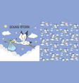 cute pelicans fly carry bag in sky vector image vector image