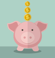 Cute Piggy Bank And Gold Coin With Flat Design vector image