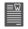 dental document glyph icon dentist and paper vector image vector image