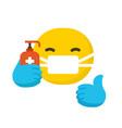 emoticon wearing surgical protective mask emoji vector image