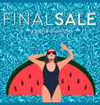 final summer sale young long-haired girl sunbath vector image