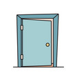 flat cartoon icon with slightly open ajar door vector image