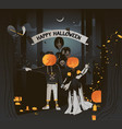 flat happy halloween card vector image vector image