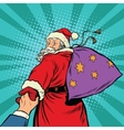 follow me Santa Claus with gifts New year vector image vector image