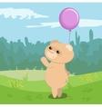 Funny bear with magenta balloon vector image vector image