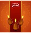 happy diwali font with top view lit oil lamps vector image vector image