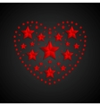 Heart symbol made of red stars on black background vector image