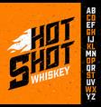 hot shot whiskey vintage font with sample label vector image