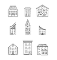 Houses Set Black and White vector image vector image