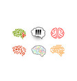 human brain set bright creative idea symbols vector image vector image