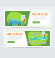 insurance banners set insurance policy services vector image vector image