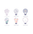 light bulbs set modern digital technology vector image