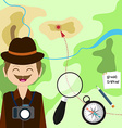 map with tourist compass magnifying glass and vector image