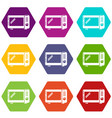 microwave oven icons set 9 vector image vector image