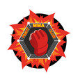 mma logo fighting glove emblem for sports team vector image vector image