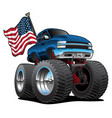 monster pickup truck with usa flag cartoon vector image vector image