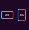 neon frame in rectangular shape template vector image