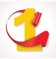 number one yellow numeric with red rolled ribbon vector image vector image