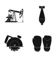oil pump air bomb and other web icon in black vector image vector image