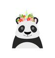 panda bear wearing a wreath of flowers cute vector image