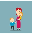 Portrait of happy family with mother and two kids vector image vector image