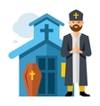 Priest and Church Flat style colorful vector image vector image