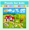 puzzle game for kids house cow pig birds and vector image vector image