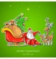 Santa Claus feeding reindeer in Christmas vector image