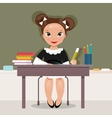 Schoolgirl at the desk vector image