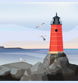 sea landscape lighthouse ocean or sea water vector image