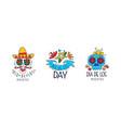 set dia de los muertos day logo design vector image