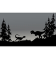 Silhouette of two allosaurus in hills vector image vector image