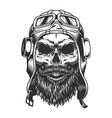 skull in pilot helmet vector image vector image
