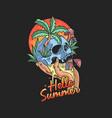 skull summer tropical beach vector image vector image