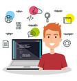software language programmer avatar vector image