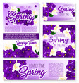 spring season purple flower banner template vector image vector image