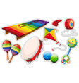 Sticker set of musical instrument and toys vector image vector image