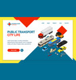 transport car 3d landing web page template vector image vector image